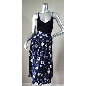 Sag Harbor Dark Blue Floral Midi Skirt